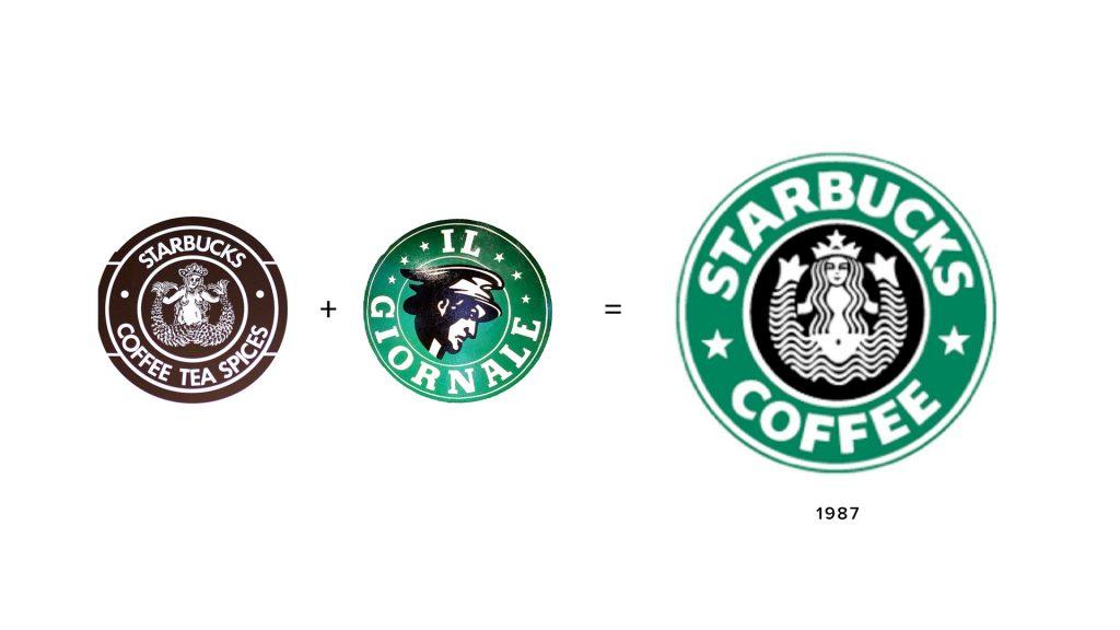 Original Starbucks logo and Il Giornale logo combined to create new Starbucks logo