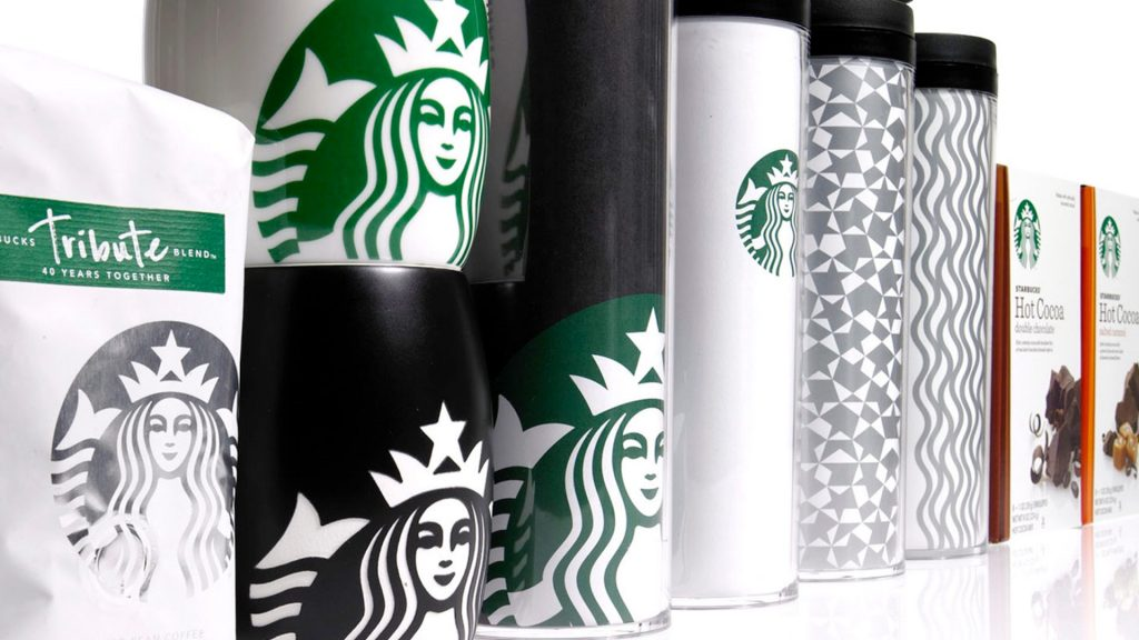 Starbucks merchandise showing logo and textures