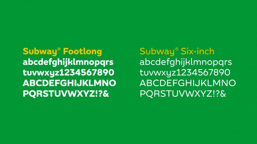 Subway typeface showing weight