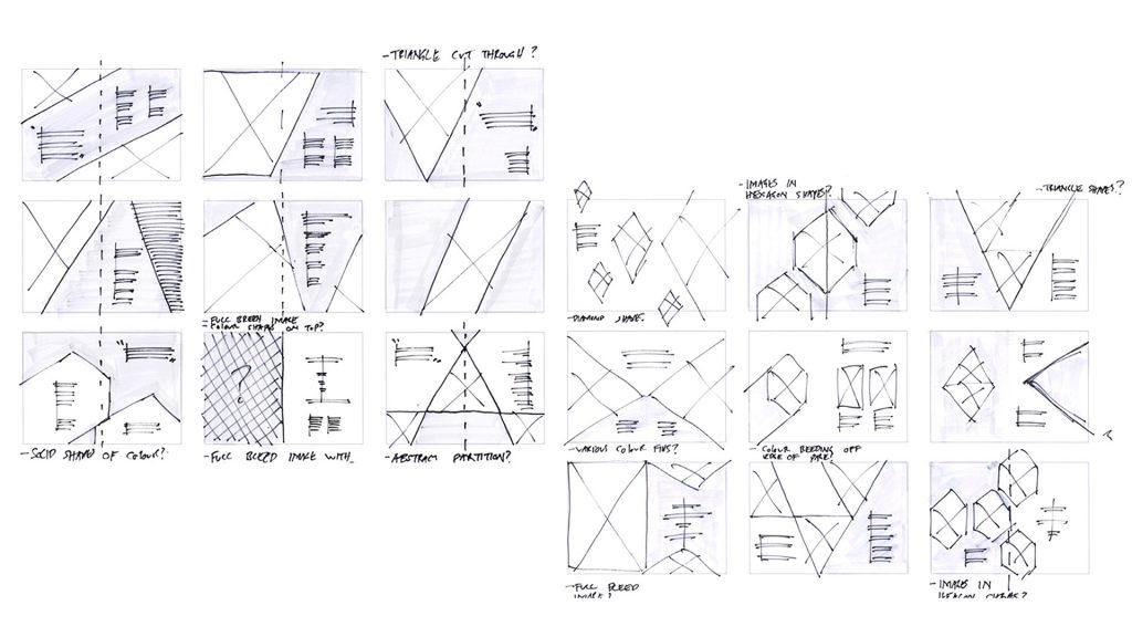 Rough sketches for a brochure layout