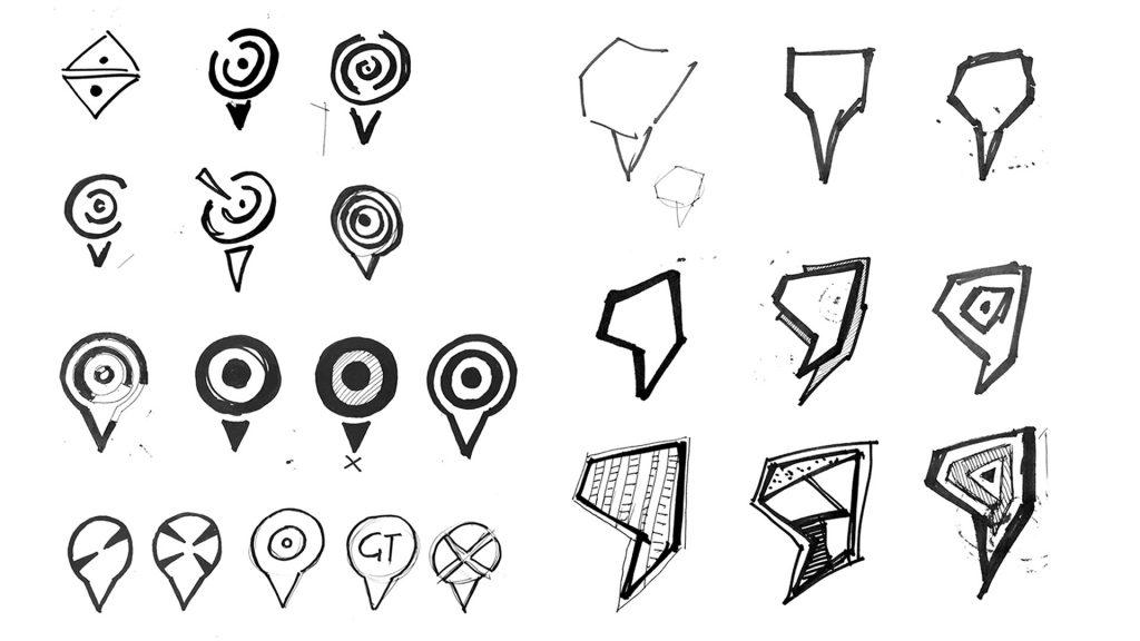 Logomark design sketches exploring map tag shapes