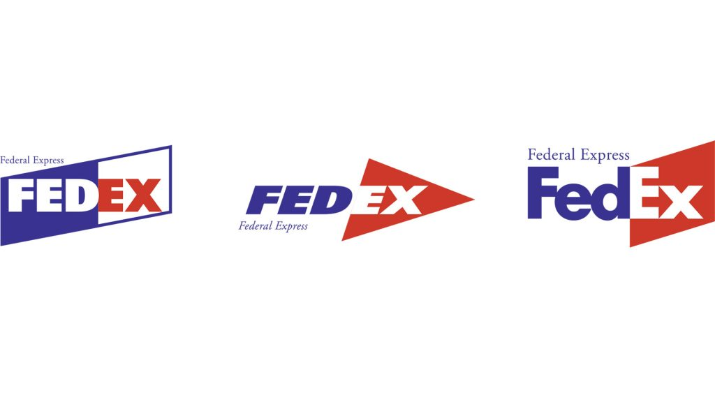 Blue and red FEDEX logo options