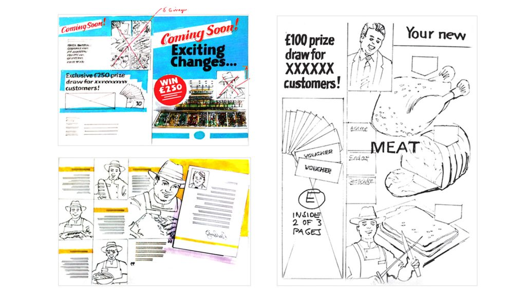 Leaflet scamp showing cover and page layouts