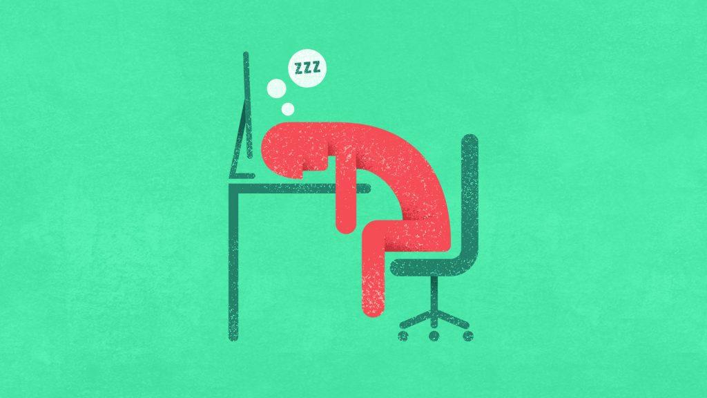 Animated man sleeping at desk