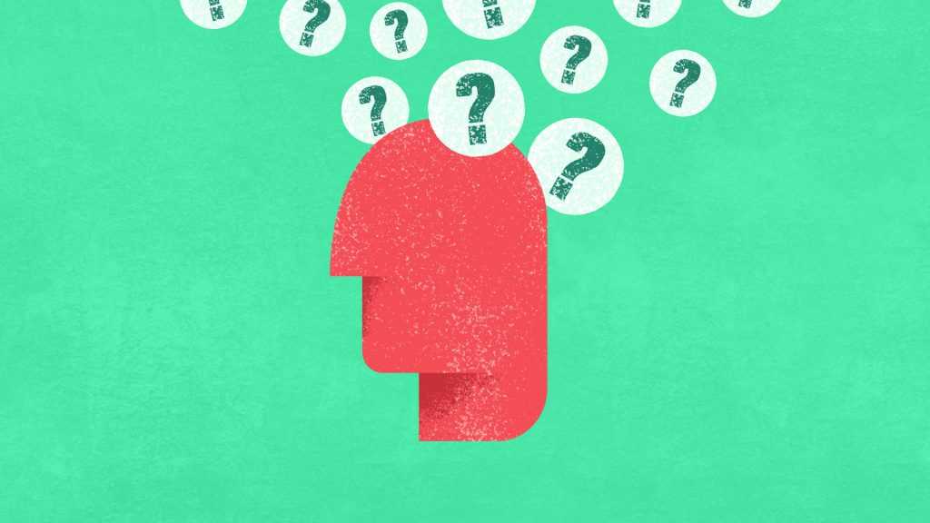 Animated head with question marks
