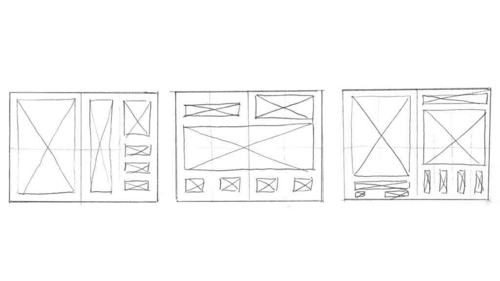 Wireframe sketches using shapes