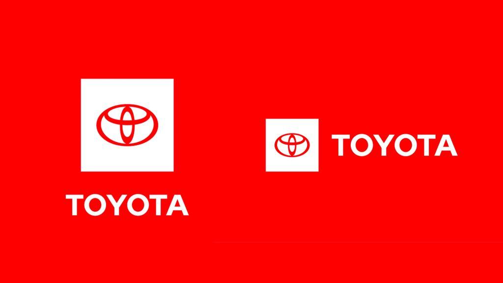 Flat Toyota logo stacked and horizontal lockup