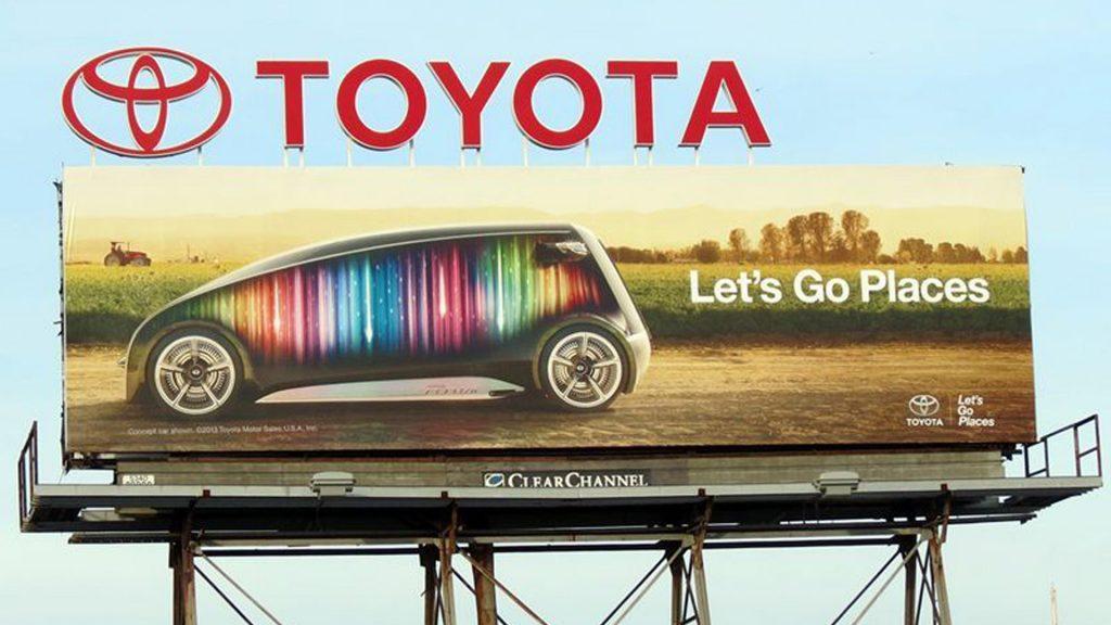 Toyota logo on billboard