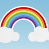 Rainbow and clouds illustration in Adobe Photoshop – EP 26/33